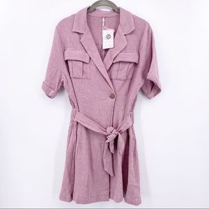 Free People Clementine Tie Waist Dress Purple Ash